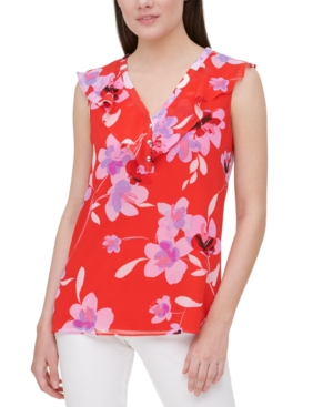 Calvin Klein FLORAL-PRINT SLEEVELESS TOP