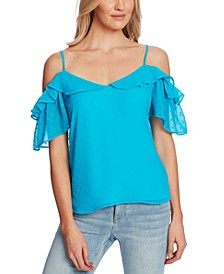 Flocked Cold-Shoulder Flutter Top