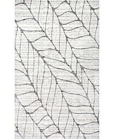 Smoky Abstract Leaves Silver Area Rug