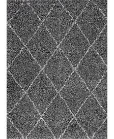 Easy Shag Cozy Soft and Plush Diamond Trellis Gray 4' x 6' Area Rug