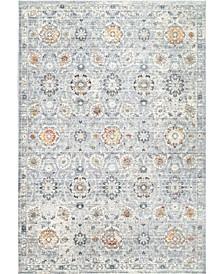 "Laziza Fiona Floral Distressed Silver 6'7"" x 9' Area Rug"