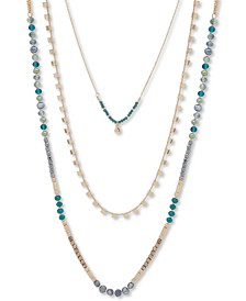 """Gold-Tone Beaded Long Three-Row Necklace, 36"""" + 3"""" extender"""