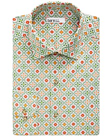 Men's Slim-Fit Performance Stretch Mosaic Tile-Print Dress Shirt, Created for Macy's