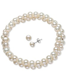2-Pc. Set Cultured Freshwater Pearl (6-7mm) Stretch Bracelet & Matching Stud Earrings