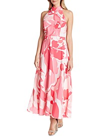 Printed Halter-Neck Maxi Dress