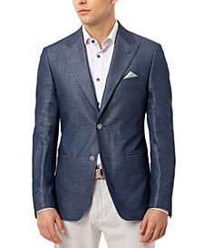 Men's Slim-Fit Vanya Blue Metallic Solid Sport Coat