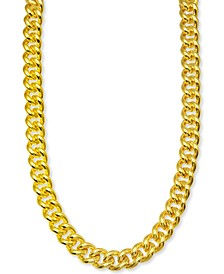 """Men's Curb Link 24"""" Chain Link Necklace in 14k Gold-Plated Sterling Silver"""