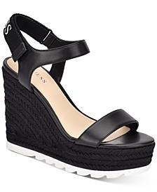 Women's Golden Espadrille Wedge Sandals