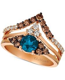Deep Sea Blue Topaz (7/8 ct. t.w.) & Diamond (3/4 ct. t.w.) Chevron Statement Ring in 14k Rose Gold