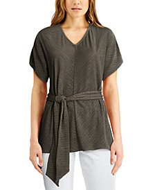 Plus Size Belted V-Neck Top, Created for Macy's