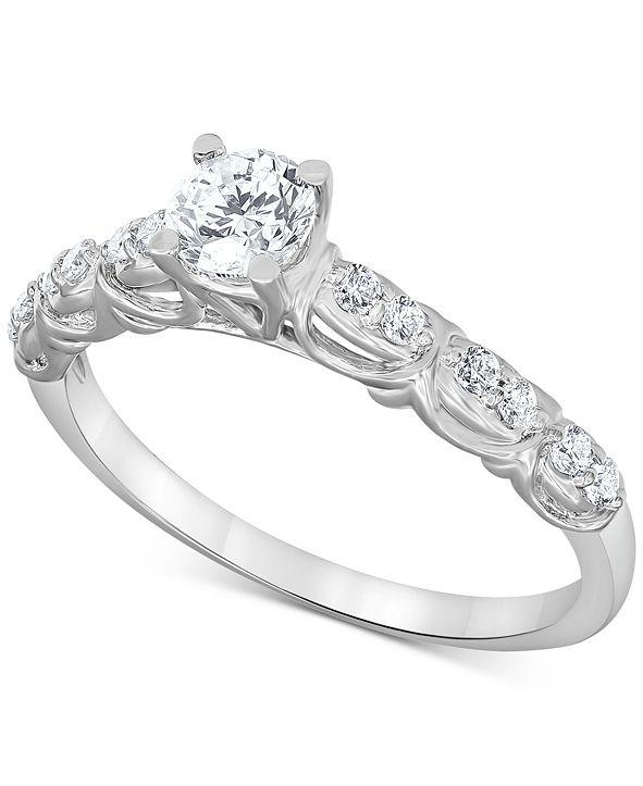 Macy's Diamond Engagement Ring (1/2 ct. t.w.) in 14k White Gold
