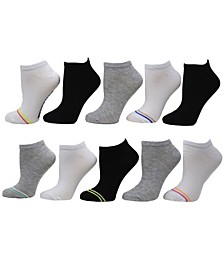 Women's Mini Varsity Stripe Low Cut Socks, Pack of 10