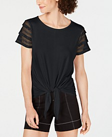 INC Petite Lace-Sleeve Tie-Front Top, Created for Macy's
