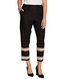 Striped-Leg Pull-On Pants