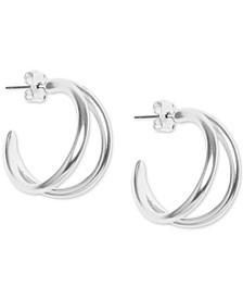 Silver-Tone Double-Row Open Hoop Earrings