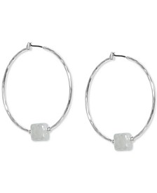 Silver-Tone Imitation Coin Pearl Charm Hoop Earrings