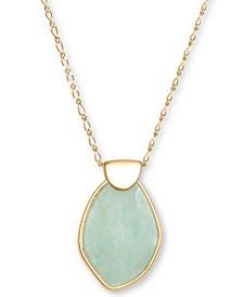 "Gold-Tone Stone Pendant Necklace, 32"" + 2"" extender"