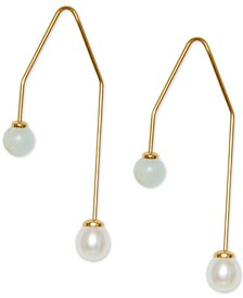Gold-Tone Stone & Imitation Pearl Threader Earrings