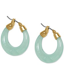 Gold-Tone Medium Jade-Look Hoop Earrings, 1""