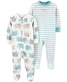 Baby Boy or Girl 2-Pk. Cotton Elephant Footie Coveralls