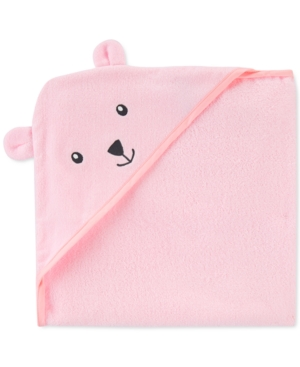 Carter's Baby Girls Hooded Cotton Bear Towel In Pink