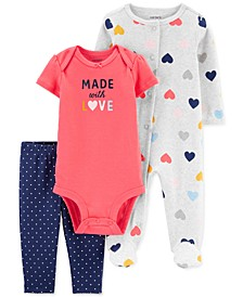 Baby Girls 3-Pc. Cotton Made With Love Coveralls, Bodysuit & Footie Pants Set