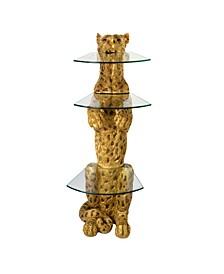 Royal Egyptian Cheetah Sculptural Glass-Shelved Pedestal Table