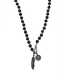Lava Stone Rosary Necklace with Feather and Mary Pendants