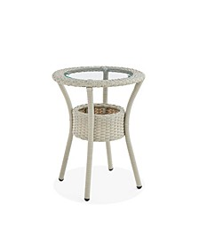 Haven All-Weather Wicker Outdoor Round Glass-Top Accent Table with Storage