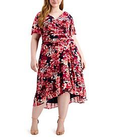 Plus Size Faux-Wrap Fit & Flare Dress