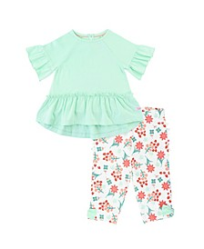 Toddler Girls Neo Mia Top Coral Charm Capri Leggings Set