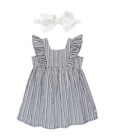 Toddler Girls Stripe Dress and Bow Headband Set