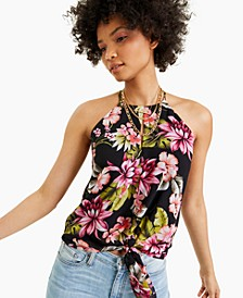Floral-Print Keyhole Top, Created for Macy's
