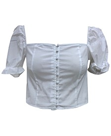 Puff-Sleeve Cropped Blouse, Created for Macy's