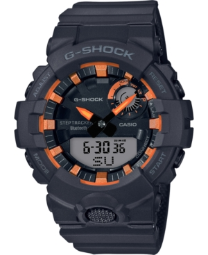 A high-impact analog-digital dial design is emphasized with neon orange accents for this fitness-focused timepiece in black from G-Shock. Style #GBA800SF-1A