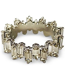 INC Silver-Tone Baguette-Crystal Statement Ring, Created for Macy's