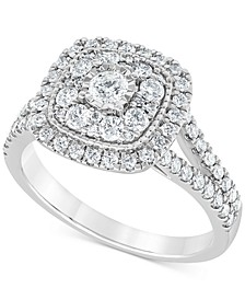 Diamond Multi-Layer Square Halo Engagement Ring (1 ct. t.w.) in 14k White Gold