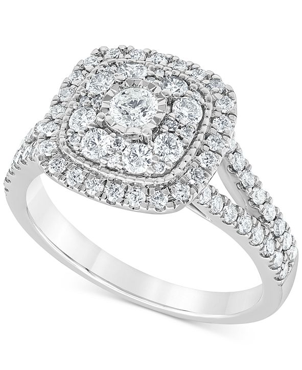 Macy's Diamond Multi-Layer Square Halo Engagement Ring (1 ct. t.w.) in 14k White Gold