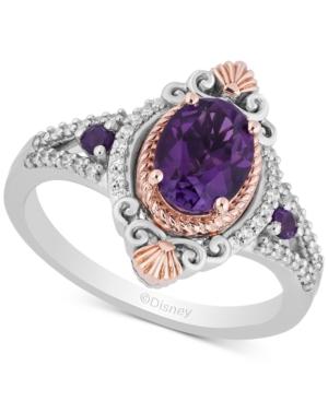 Enchanted Disney Amethyst (1-1/3 ct. t.w.) & Diamond (1/7 ct. t.w.) Ariel Ring in Sterling Silver & 14k Rose Gold