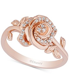 Enchanted Disney Diamond Rose Belle Ring (1/10 ct. t.w.) in 14k Rose Gold