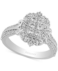 Enchanted Disney Diamond Cinderella Cluster Ring (3/4 ct. t.w.) in 14k White Gold