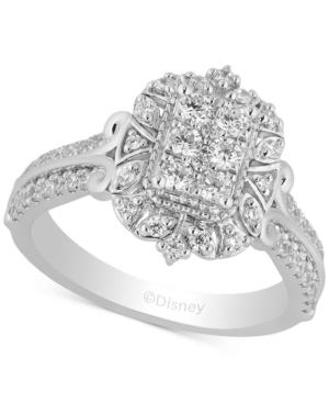 Enchanted Disney Diamond Cinderella Cluster Ring (3/4 ct. t.w.) in 14k White Gold