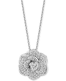 "Enchanted Disney Diamond Flower Cinderella Pendant Necklace (1/2 ct. t.w.) in 14k White Gold, 16"" + 2"" extender"