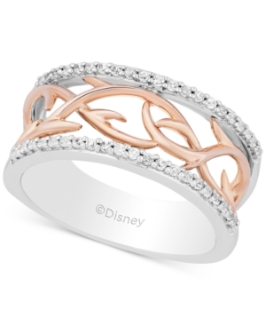 Enchanted Disney Villains Diamond Maleficent Vine Ring (1/5 ct. t.w.) in Sterling Silver & 14k Rose Gold
