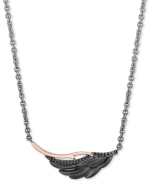 """Enchanted Disney Black Diamond Maleficent Villains Wing 18"""" Pendant Necklace (1/10 ct. t.w.) in Sterling Silver & 14k Rose Gold"""