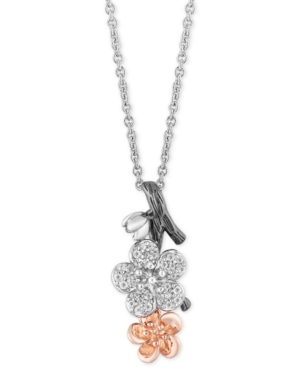Enchanted Disney Diamond (1/6 ct. t.w.) Mulan Flower Pendant Necklace in Sterling Silver and 14k Rose Gold