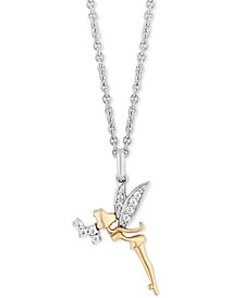 "Enchanted Disney Diamond Tinkerbell Pendant Necklace (1/10 ct. t.w.) in Sterling Silver and 14k Gold, 16"" + 2"" Extender"