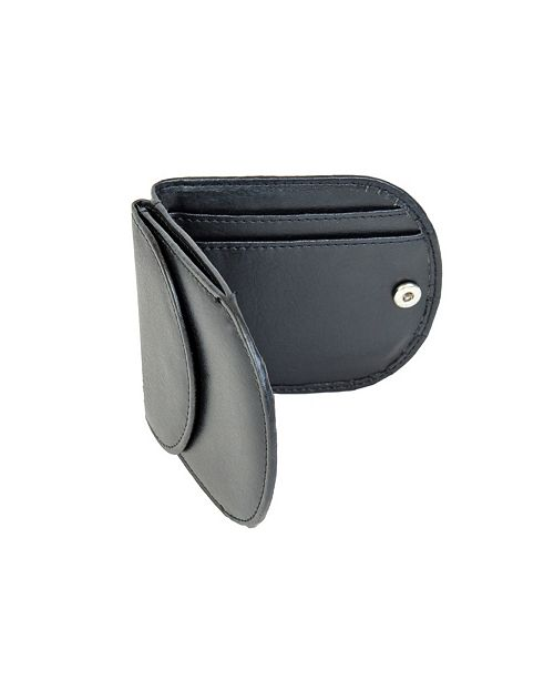 CHAMPS Genuine Leather Card Holder with Snap Closure Money Pouch
