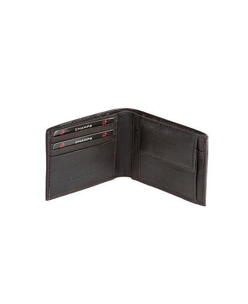 CHAMPS Genuine Leather RFID Blocking Wallet with Gusset Coin Pocket