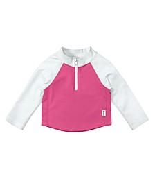 Toddler Girls and Toddler Boys Long Sleeve Zip Rashguard Shirt